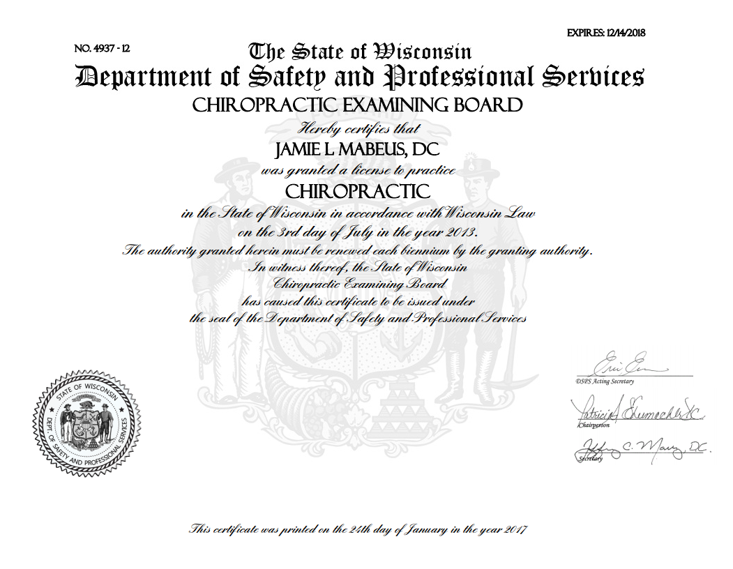 Dr jamie full motion family chiropractic veterinary spine dr jamie is a licensed chiropractor in the state of wisconsin with a state approved certification in nutritional counseling dr jamie is certified in xflitez Choice Image